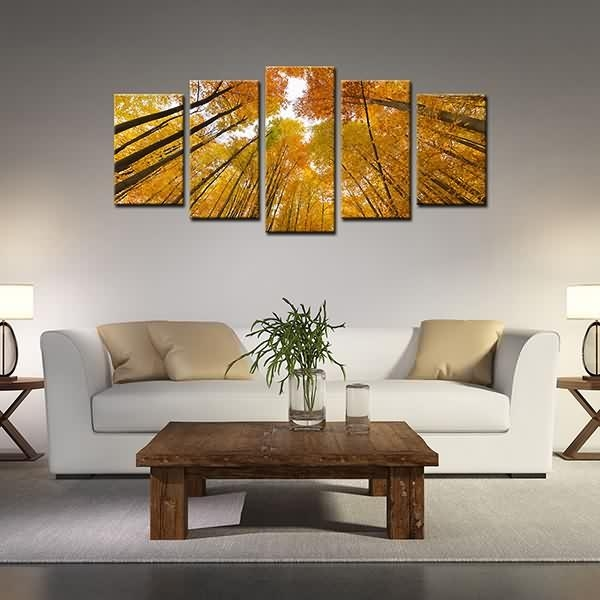 Wholesale Dealers Of Framed Canvas Prints High Trunk Yellow Woods Throughout Leadgate Canvas Wall Art (Image 19 of 20)