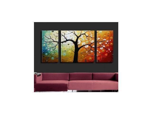 Wieco Art 3 Piece Canvas Art Modern Art 100% Hand Painted Oil Throughout Next Canvas Wall Art (View 10 of 20)