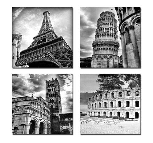 Wieco Art – Architectures Modern 4 Panels Giclee Canvas Prints For Black And White Canvas Wall Art (Image 20 of 20)
