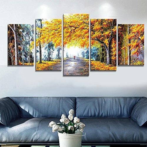 Wieco Art – Autumn Love Modern Framed Giclee Canvas Prints 5 In Abstract Nature Canvas Wall Art (View 11 of 20)