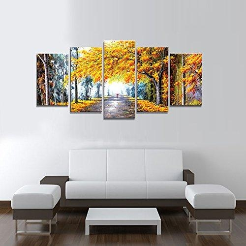 Wieco Art – Autumn Love Modern Framed Giclee Canvas Prints 5 Pertaining To Oil Paintings Canvas Wall Art (Image 20 of 20)
