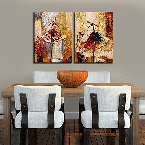 Wieco Art – Ballet Dancers 2 Piece Modern Decorative Artwork 100 For Abstract Oil Painting Wall Art (View 15 of 20)