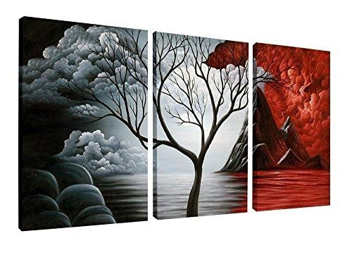 Wieco Art – Oil Paintings Reproduction Canvas Print Modern Canvas Intended For Canvas Wall Art Of Trees (Image 20 of 20)