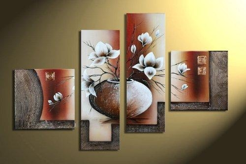 Wieco Art – Stretched And Framed 100% Hand Painted Modern Canvas Within Canvas Wall Art Of Flowers (View 19 of 20)