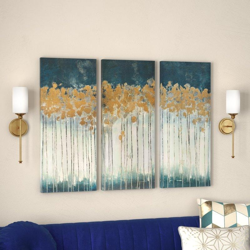 Willa Arlo Interiors 'midnight Forest' Gel Coat Canvas Wall Art Intended For Gold Canvas Wall Art (Image 20 of 20)