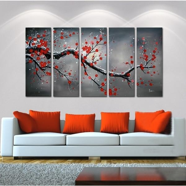 Winter Plum' 5 Piece Oil Hand Painted Canvas Art Set – 13101983 Regarding Hand Painted Canvas Wall Art (Image 20 of 20)
