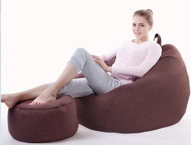 With Stool Ottoman Custom Lazy Sofa Creative Leisure Bean Bag With Intended For Bean Bag Sofas (Image 10 of 10)