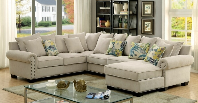Wonderful 3 Pc Skyler Collection In Sectional Sofa With Nailhead Regarding Sectional Sofas With Nailheads (View 8 of 10)