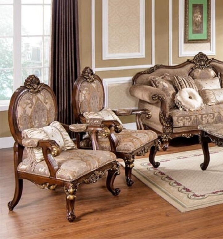 Wonderful Accent Chair Set Of 2 With Best Furniture Mc1428 Gold In Sofa And Accent Chair Sets (Image 10 of 10)
