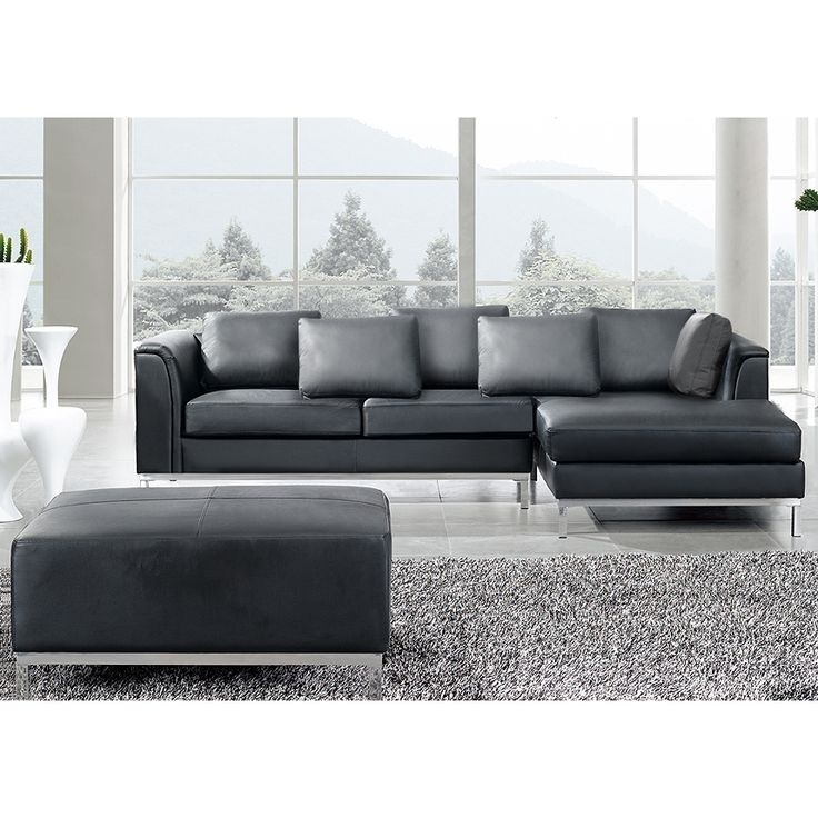 Wonderful Black Leather L Shaped Sectional Modern Lshaped Couches Intended For Leather L Shaped Sectional Sofas (Image 10 of 10)