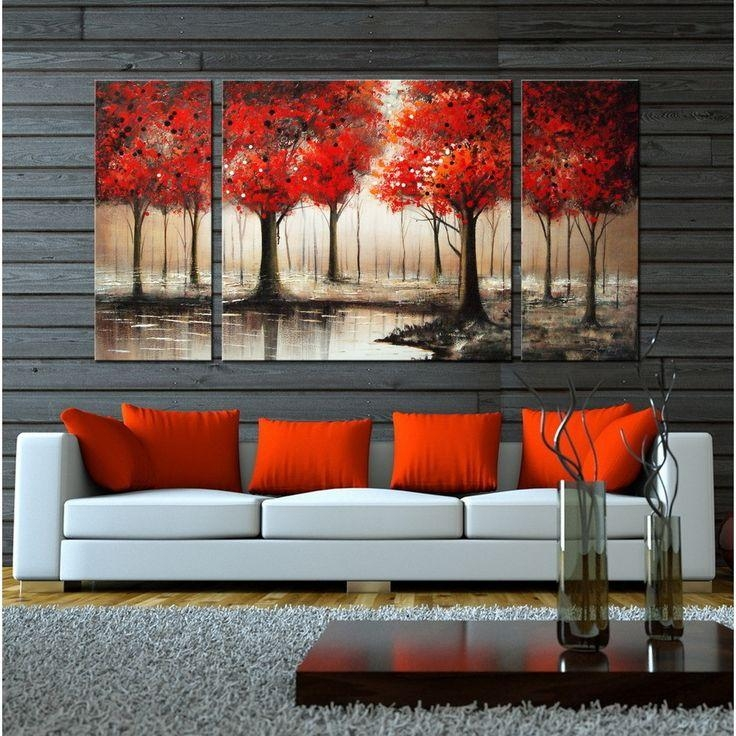 Wonderful Living Rooms Awesome Wall Art Sets For Living Room With Regard To Orange Canvas Wall Art (View 20 of 20)