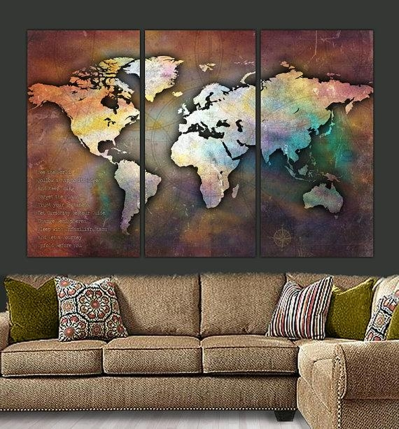 World Map Canvas Antique Map Large Wall Art Up To 6 Ft (Image 18 of 20)