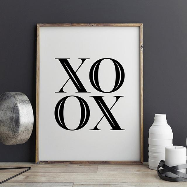 Xoxo Canvas Wall Art, Scandinavian Printable Poster, Black And Within Love Canvas Wall Art (Photo 11 of 20)
