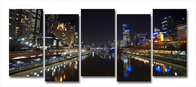 Yarra River Melbourne City At Night Modern Wall Art On Canvas In Canvas Wall Art In Melbourne (Image 20 of 20)