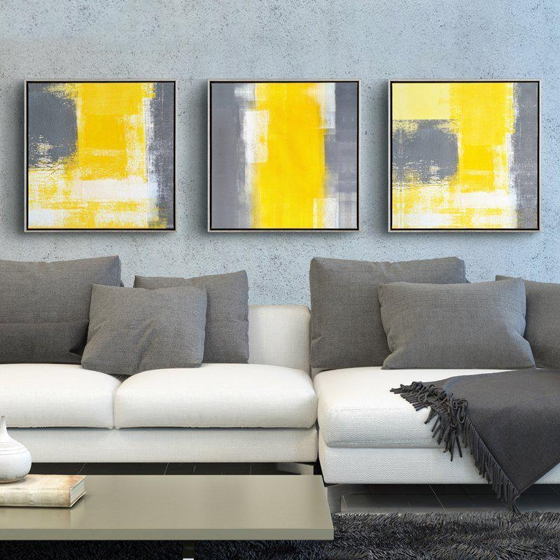 Yellow And Grey Modern Minimalist Abstract Painting Decorative Throughout Grey Abstract Canvas Wall Art (Image 20 of 20)