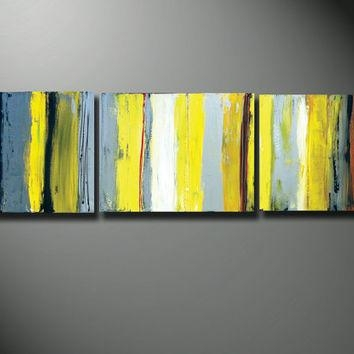 Yellow Canvas Art, Gray And Yellow Art, From Oritart On Etsy Intended For Yellow And Grey Abstract Wall Art (View 6 of 20)