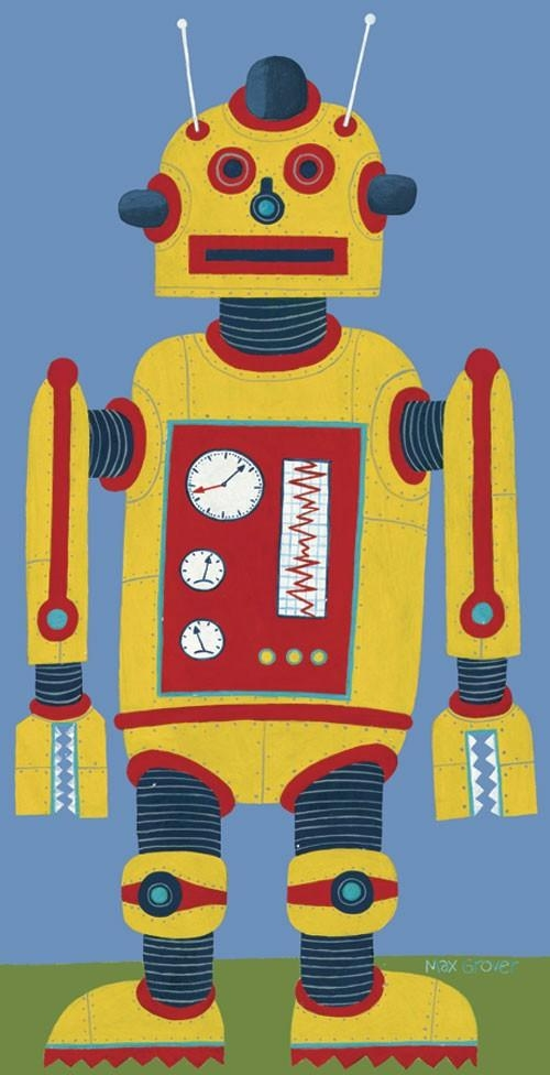 Yellow Robot Canvas Wall Artoopsy Daisy – Rosenberryrooms Pertaining To Robot Canvas Wall Art (Image 20 of 20)