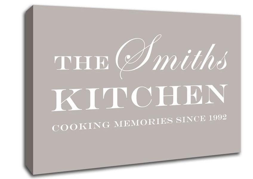 Your Family Name And Date Kitchen Beige Text Quotes Canvas Pertaining To Canvas Wall Art Family Quotes (Image 20 of 20)
