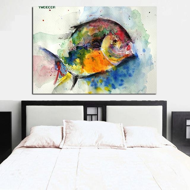 Ywdecor Print Watercolor Fish Ocean Painting Feng Shui Abstract With Regard To Abstract Fish Wall Art (Photo 5 of 20)