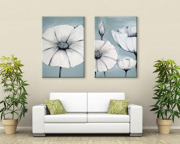 Zen Canvas Wall Art Duck Egg Blue /green /white Grey Japanese With Canvas Wall Art Pairs (View 2 of 20)