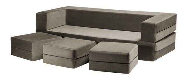 Zipline Convertible Sofa Bed And Ottomans With Washable Cover, 4 Inside Convertible Sofas (Image 10 of 10)