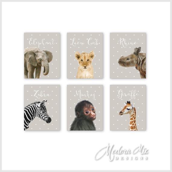 Zoo Animals Canvas Nursery Decor Wall Art Safari Animals In Safari Canvas Wall Art (Image 20 of 20)