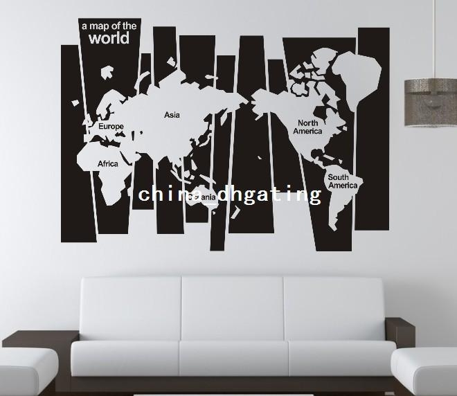 0829 Version Map Of The World Family Office Vinyl Wall Art Room Regarding Vinyl Wall Art World Map (View 7 of 10)