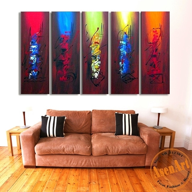 100% Hand Painted Canvas Oil Painting Abstract Canvas Wall Art 5Pcs With Large Wall Art (View 7 of 10)