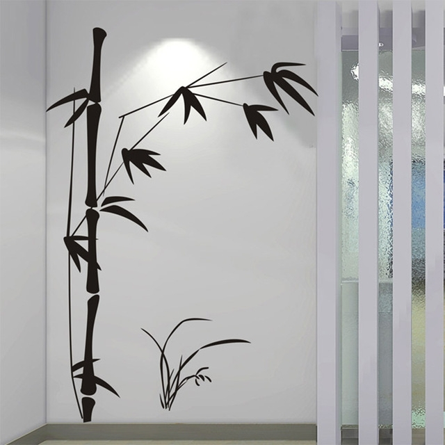 100*145Cm Large Beautiful Bamboo Wall Sticker Vinyl Wall Art Throughout Bamboo Wall Art (View 7 of 10)