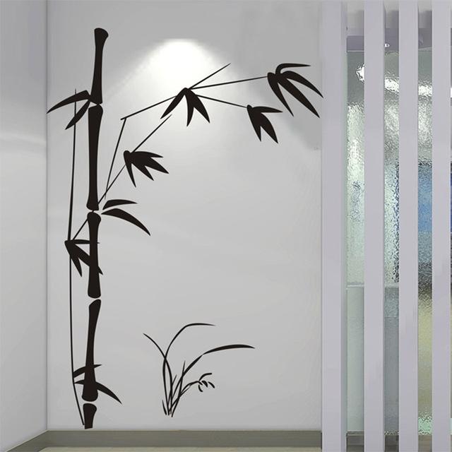 100*145Cm Large Beautiful Bamboo Wall Sticker Vinyl Wall Art Throughout Bamboo Wall Art (Image 1 of 10)