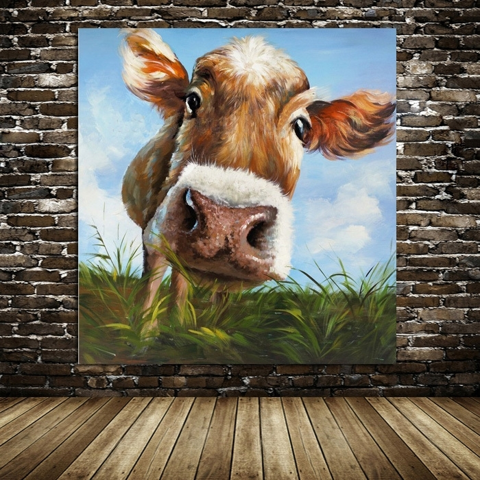 100%handpainted Modern Cow Pictures Abstract Art On Canvas Animals Throughout Cow Canvas Wall Art (Image 1 of 10)