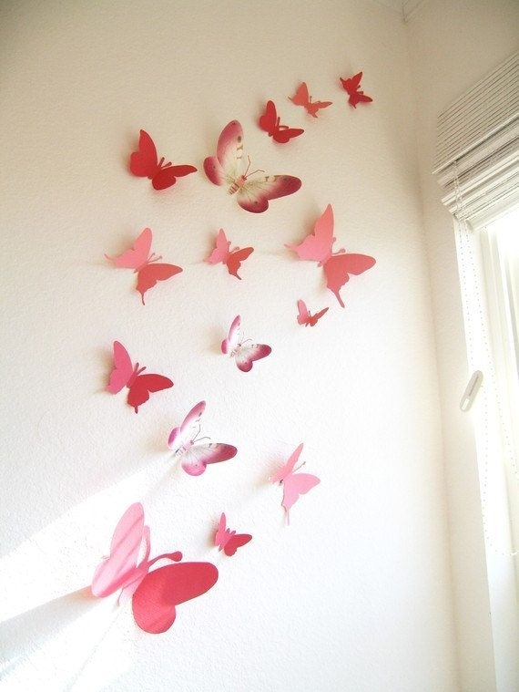 15 3D Paper Butterflies, 3D Butterfly Wall Art, Wall Decor Intended For Butterfly Wall Art (Image 1 of 10)