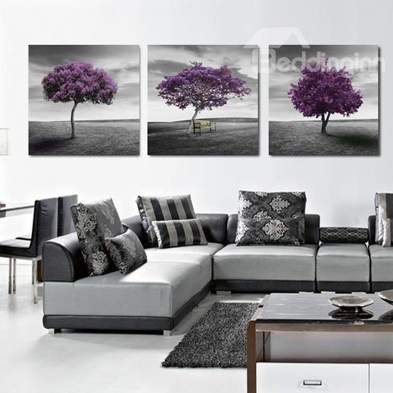 16×16In×3 Panels Purple Trees In Desert Hanging Canvas Waterproof With Regard To Purple And Grey Wall Art (Image 1 of 10)