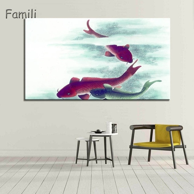 1Piece Koi Fish Wall Art Chinese Painting Wall Art On Canvas Home Inside Fish Painting Wall Art (Image 1 of 10)