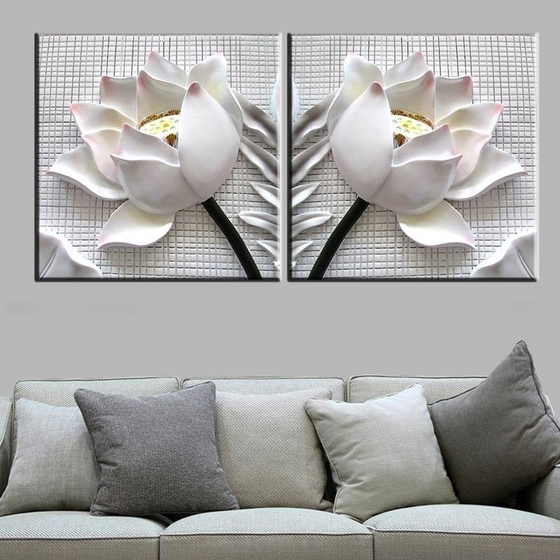 2 Pcs Floral Canvas Wall Art : Cheap Oil Paintings|Paintings For For Floral Canvas Wall Art (Image 1 of 10)