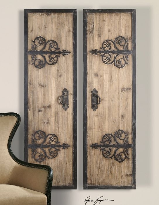2 Xl Decorative Rustic Wood & Wrought Iron Wall Art Panels Oversized With Wood And Metal Wall Art (Image 1 of 10)