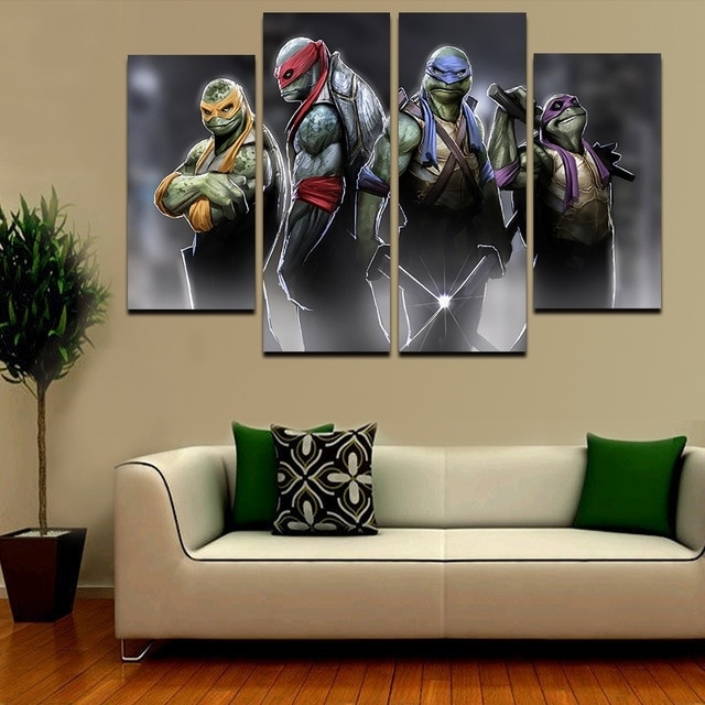 2016 Hot 4Pcs Large Hd Teenage Mutant Ninja Turtles With Abstract Intended For Ninja Turtle Wall Art (Image 1 of 10)