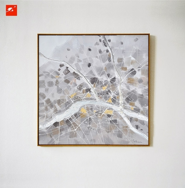 2016 Simple Grey Nordic Naturism Abstract Wall Art Oil Painting On Regarding Gray Canvas Wall Art (Photo 9 of 10)