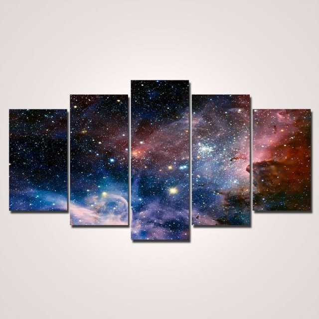 2017 Hot Sale Painting 5 Pieces/set Wall Art Space Canvas Painting In Panel Wall Art (Image 1 of 10)
