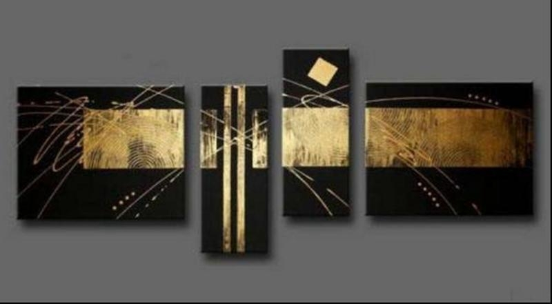 2018 100% Handpainted Black Gold Abstract Oil Painting On Canvas Throughout Black And Gold Wall Art (Image 1 of 10)