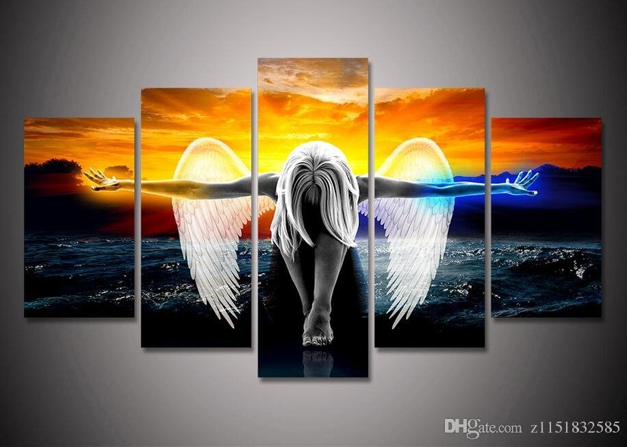 2018 2017 Hd Print Canvas Wall Art Angel With Wings Painting Anime Intended For Five Piece Canvas Wall Art (Image 2 of 10)