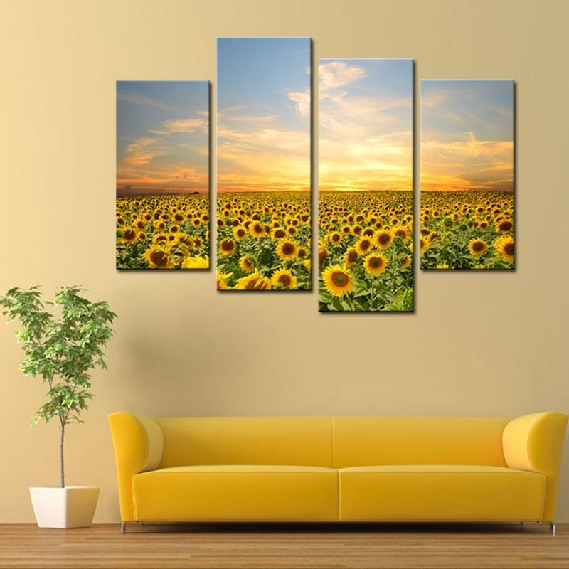 2018 4 Panels Sunflowers Canvas Paintings Landscape Pictures With Regard To Sunflower Wall Art (Image 1 of 10)