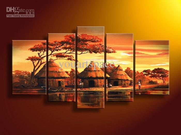 2018 5 Panel Wall Art African Abstract Orange Sunset Oil Painting On Inside African Wall Art (View 5 of 10)