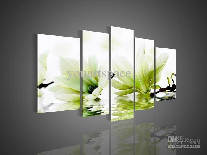 2018 5 Panel Wall Art Picture Modern Abstract Acrylic Flower Throughout Green Wall Art (Photo 10 of 10)