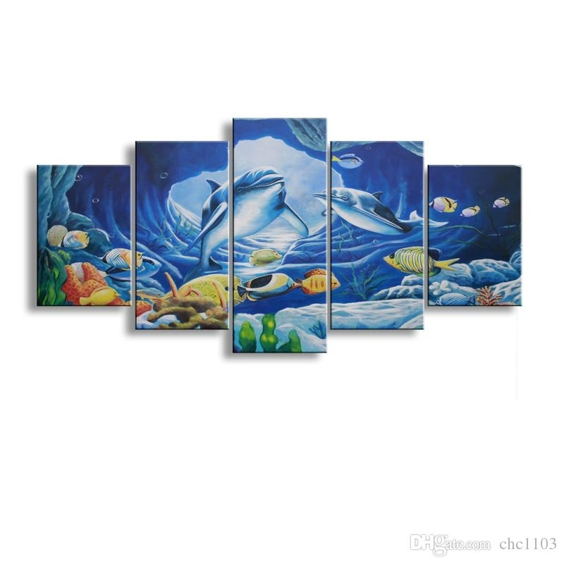 2018 5 Panel Whale Painting Canvas Wall Art Picture Home Decoration Inside Whale Canvas Wall Art (Photo 3 of 10)