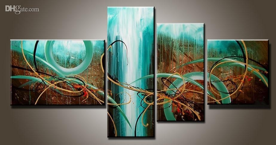 2018 Art Modern Abstract Oil Painting Multiple Piece Canvas Art Sets Regarding Multi Piece Wall Art (Image 1 of 10)