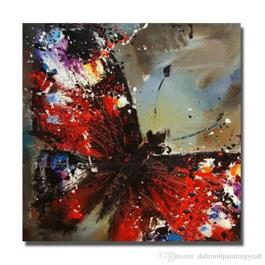 2018 Chinese Wall Art Red Butterfly Oil Painting For Bedroom With Regard To Chinese Wall Art (Image 2 of 10)