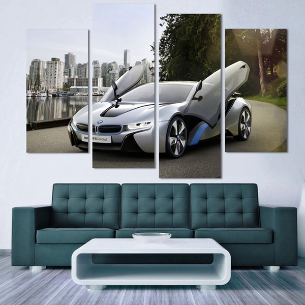 2018 Fashion Sport Car Canvas Prints Painting Decoration For Bed Within Car Canvas Wall Art (Image 2 of 10)