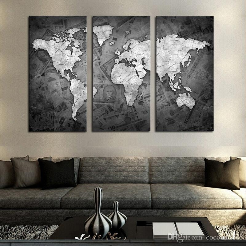2018 Frameless Wall Art Classical Grey Color Modern World Map Canvas In Gray Canvas Wall Art (Image 2 of 10)