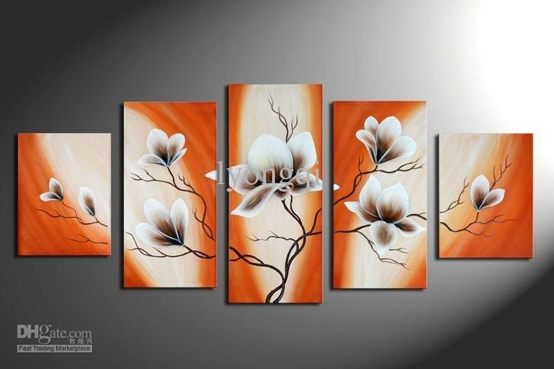 2018 Hand Painted Hi Q Modern Wall Art Home Decorative Abstract For Orange Wall Art (Photo 1 of 10)